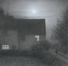 Silent Approach - Steven Outram British b.1953- Mixed Media, 7 x 7 inches
