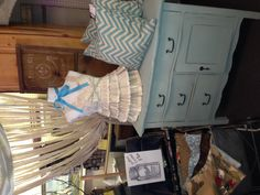 This lovely little cabinet has been painted and Maison Blanche Cream de Menthe and lightly distressed.
