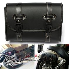 Alforja Lateral de Cuero Para Moto Estilo Bobber Harley Davidson Color Negro -- 27,02€