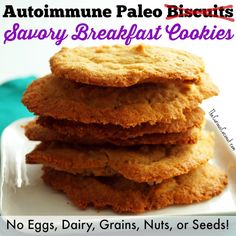 Sometimes kitchen failures turn into great recipes. I've tried and tried to come up with an egg-free, autoimmune paleo biscuit, but, no matter what I do, they don't rise. They've all come out flat as pancakes! Thus, Savory Breakfast Cookies were born. Even though they don't look like a biscuit