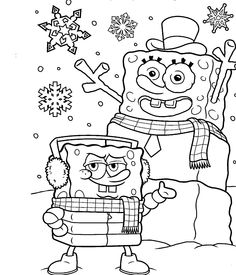 SpongeBob Snowman Christmas holiday coloring page