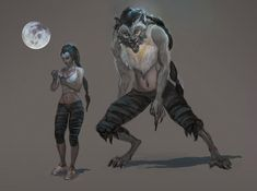 "howlingbastards: "" Werewolf female by oakenvial "" Werewolf Stories, Werewolf Girl, Female Werewolves, Vampires And Werewolves, Fantasy Creatures, Mythical Creatures, Character Inspiration, Character Art, Apocalypse"