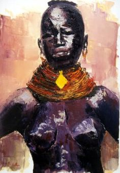 Portrait (Schilderij) door georgette Ballet peinture à l'huile - au couteau -