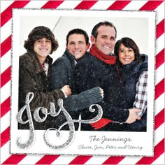 Show how much the boys have grown in this sparkling holiday card | Joy Stripes Christmas Card at Shutterfly.com