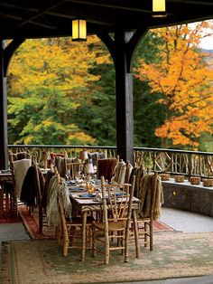 Rustic Fall Wedding Decor ...great having the throws in case its chilly. i just love this...great idea