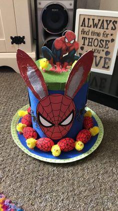 Spider-Man Easter bonnet Boys Easter Hat, Easter Bonnets For Boys, Easter Hat Parade, Easter Bunny, Bunny Crafts, Easter Crafts For Kids, Easter Stuff, Easter Photo Frames, Crazy Hats