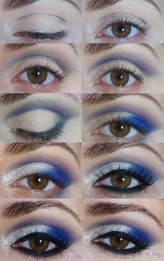 How-to for a really cool blue and white glitter eye makeup look