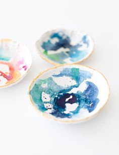 DIY Watercolor Clay Bowl