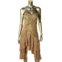 SUE WONG NEW Gold Beaded Strapless Party Cocktail Dress 6 Short BHFO in Dresses | eBay