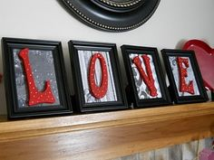 Paint frames black, add scrapbook paper for background. Add painted letters.