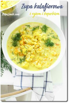 Soup with cauliflower Weekly Menu, Cheeseburger Chowder, Soup Recipes, Risotto, Cauliflower, Ethnic Recipes, Food, Cauliflowers, Meals