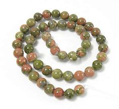15 Unakite Beads 10mm  Natural Earth Tone - BD48