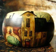 Купить браслет Прогулка по старому городу - разноцветный, светло-зеленый, светло-бежевый, светло-коричневый