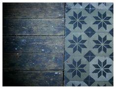 Vieux parquet + carreaux de ciment www.naturalarearugs.com