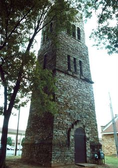 stone water tower at the Kate Duncan Smith DAR School in Grant, AL was built in 1937 and converted into a bell tower in 1973