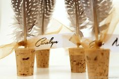 Pay homage to that bird on your table with some feather name cards that will get guests flocking to ... - Courtesy carolyn's homework