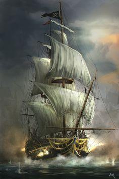 ArtStation – Last Battle, Reha Sakar ArtStation – Letzte Schlacht, Reha Sakar Pirate Art, Pirate Ships, Pirate Crafts, Old Sailing Ships, Ship Paintings, Bedroom Paintings, Wooden Ship, Ship Art, Tall Ships