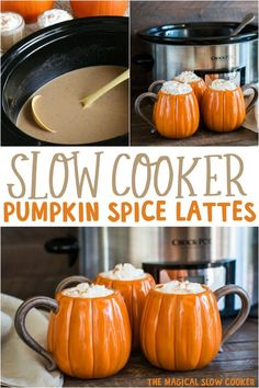 Slow Cooker Pumpkin Spice Lattes Make Pumpkin Spice Lattes for a crowd! These slow cooker pumpkin spice lattes are perfected sweetened and spiced. Great for any fall or winter party. The post Slow Cooker Pumpkin Spice Lattes appeared first on Getränk. Slow Cooker Recipes, Crockpot Recipes, Cooking Recipes, Crockpot Drinks, Rub Recipes, Cheap Recipes, Chicken Recipes, Recipies, The Magical Slow Cooker