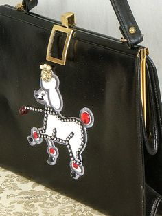 Vintage 1950s Poodle Purse / Black Carry Purse / by bloombird, $46.00