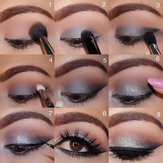 Step by step eye makeup – PICS. My collection Silver smokey glam – Das schönste Make-up - Yersq Sites Eye Makeup Cut Crease, Eye Makeup Steps, Smokey Eye Makeup, Eyeliner, Cute Makeup, Glam Makeup, Makeup Looks, Hair Makeup, Eye Makeup Pictures