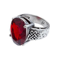 """Celtic-Red (Size 8) Ring An enchanting faux gemstone edged in eternal love knots. A bold cocktail ring to match your pretty cocktail dresses! Celtic Collection  •  Gold or silver tone  •  Available in size 7 or 8  •  .75"""" width  https://myfashions.graceadele.us/GraceAdele/Buy/ProductDetails/10241"""