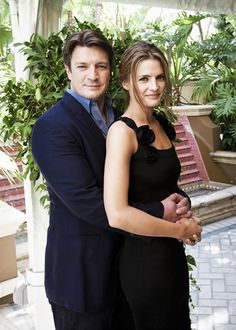 Stana Katic and Nathan Fillion at a 2011 Press Conference