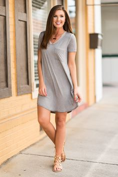 """""""Chill And Vibe T-Shirt Dress, Gray""""This chilled out t-shirt dress is giving us such good vibes! It's so soft and the cut is wonderfully generous! #newarrivals #shopthemint"""
