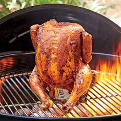 "Ginger ""Beer Can"" Chicken - Easy Chicken Recipes - Southern Living Beer Butt Chicken Recipes, Grilled Chicken Recipes, Carne Asada, Grilling Recipes, Cooking Recipes, Grilling Ideas, Vegetarian Grilling, Tailgating Recipes, Healthy Grilling"