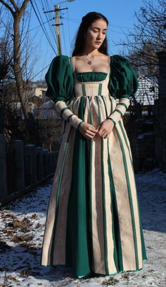 """crafts-chicks-and-cats: """" This Green Dress was designed, drafted and sewn by me, I created the pattern and it was 100% hand sewn. Follow me for historical garments and renaissance inspired dresses. I'm also open for commissions! """""""