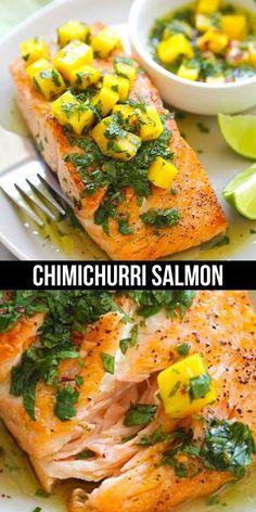 Mango Recipes, Salmon Recipes, Yummy Recipes, Healthy Recipes, Light Recipes, Clean Recipes, Cooking Recipes, Seafood Dishes, Seafood Recipes