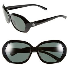Women's Tory Burch 57mm Sunglasses ($160) ❤ liked on Polyvore