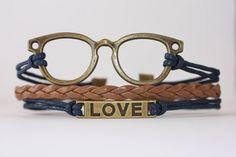 WISDOM~ Glasses Love Bracelet, Ophthalmologist, Optometrist, Optician, Eye Glasses, Vision, Geekery Bracelet, Nerd Gift, ilovecheesygrits