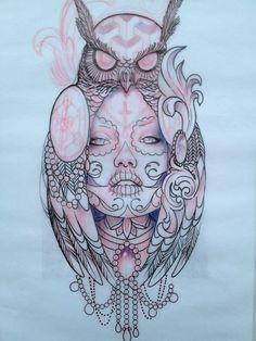 grafika tattoo, girl, and owl