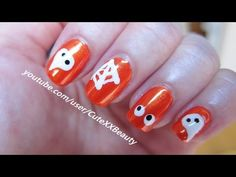 Cute Halloween Nail Art check out www.MyNailPolishObsession.com for more nail art ideas.