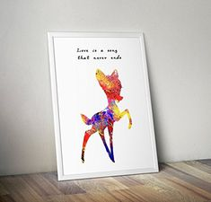 Bambi inspirierte Aquarell Poster - Zitat - Alternative TV/Movie Prints in verschiedenen Größen (Rahmen nicht im Lieferumfang enthalten) Bambi, Tv Movie, Color Profile, All Poster, Lilo And Stitch, Watercolor Print, Unique Art, Illustration Art, Handmade Items