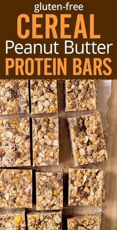 Healthy peanut butter cereal bars made with cereal, oats, peanut butter, ho Protein Bar Recipes, Gourmet Recipes, Snack Recipes, Cooking Recipes, Homemade Protein Bars, Homemade Cereal Bars, Homemade Oatmeal Bars, Homemade Breakfast Bars, Gluten Free Protein Bars