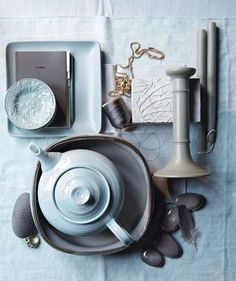 Get inspiration from these accessories for a blue, dark gray, and light gray color palette. (Click through for buying information.)