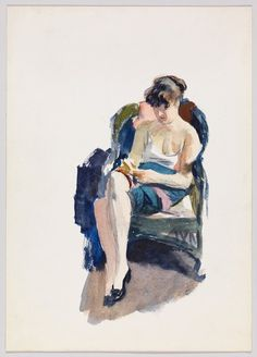 """Edward Hopper (American): Watercolor Painting, """"Jo Seated"""" (circa [Whitney Museum of American Art, New York City] Figure Painting, Painting & Drawing, Watercolor Painting, Watercolors, Hooper Edward, Christophe Jacrot, Edward Hopper Paintings, Ashcan School, Art History"""