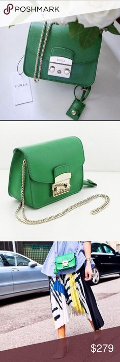 FURLA BAG 💕 NEW!!! Beautiful purse from FURLA with love 💕 Metropolis model. Very elegant shade of green and gold tone finish. Real leather. Brand NEW. No tags on it. I bought it in Italy while traveling a few months ago but it's too small for my needs 😂 No scratches, no stains, PERFECT CONDITION!! Furla Bags Crossbody Bags