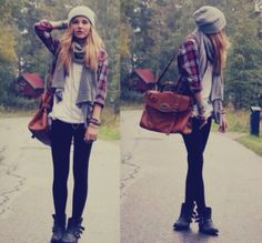 scarf, flannel, leggings, and combat boots <3 i wish i could wear boots w/o looking weird...