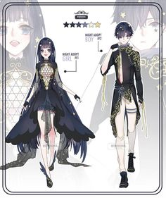 Auction] night adopt ::closed:: by rurucha Anime Art Girl, Anime Guys, Character Outfits, Character Art, Clothing Sketches, Modelos Fashion, Fashion Design Drawings, Drawing Fashion, Anime Dress