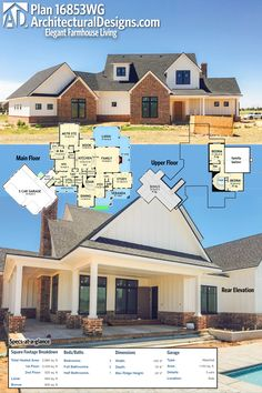 Our client is building farmhouse plan 16853WG in Texas in reverse layout and with a touch of brick on the exterior. Ready when you are. Where do YOU want to build?Specs-at-a-glance 3 beds 2.5 baths 2,900+ sq. ft. PLUS 600+ sq. ft. bonus room over garage