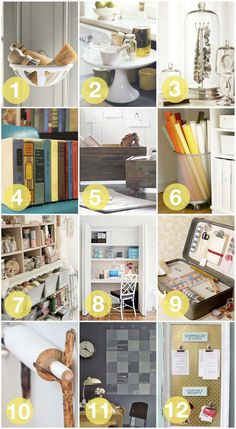 12 Ways to Creatively Organize - yes!  The joy of having a small kitchen/bedroom/living room/house is really figuring out how to make it work for you.  i think #10 is pretty genius!