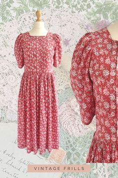 Vintage Laura Ashley Red Ditsy Floral Cotton Summer Dress Introducing The Romantic Collection - the latest addition to @VintageFrillsShop is a selection of gorgeous vintage pieces to add to your wardrobe and home. Inspired by escaping to the English countryside and #cottagecore, The Romantic Collection welcomes Spring with delicate florals and lace, pretty puff sleeves and full skirts, embroidered details and Peter Pan collars as well as many more accessories and homeware. Summer Dresses Uk, Simple Dresses, Vintage Outfits, Vintage Fashion, Full Skirts, Ditsy Floral, Laura Ashley, Modest Fashion, English Countryside