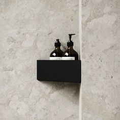 BATH SHELF is a minimalistic storage shelf for shampoo bottles and other things that usually makes a mess in the shower cabin. The shelf is made of powder-coated stainless steel and is designed to cope with the moist environment of a bathroom. Black Corner Shelf, Corner Shelves, Storage Shelves, Bath Shelf, Shampoo Bottles, Shower Cabin, Shower Shelves, Bathroom Images, Shower Remodel