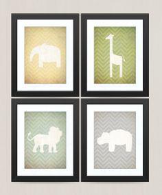 Nursery Safari Zoo Animal Prints  Vintage by littleredflag on Etsy, $45.00
