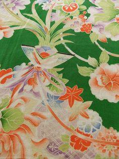 ☆ New Arrival ☆ 'Pride and Joy' #enchanting #womens #antique #green #Japanese #silk #kimono #bird & #floral #pattern from #FujiKimonohttp://www.fujikimono.co.uk/fabric-japanese/pride-and-joy.html #textile #Japanese #fashion #kawaii #cosplay