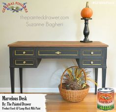 The Painted Drawer, https://www.facebook.com/ThePaintedDrawer?fref=ts, used GF Lamp Black Milk Paint to give this table a sleek classic look. You can find your favorite GF products at Woodcraft, Rockler Woodworking stores or Wood Essence in Canada. You can also use your zip code to find a retailer near you at http://generalfinishes.com/where-buy#.UvASj1M3mIY. #generalfinishes #gfmilkpaint #waterbased