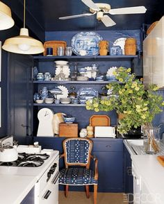 Storage solution for your small kitchen, plus I love the color blue.