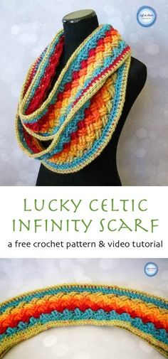 A free infinity scarf crochet pattern perfect for celebrating St. Patricks Day but spectacular enough to wear for any occasion! Use on skein of Caron Cakes yarn to make this vivid accessory. Lucky Celtic Infinity Scarf — Left in Knots